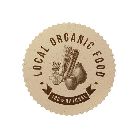 地元の有機食品はラウンド手描き野菜と紙のエンブレムです。ベクトル図
