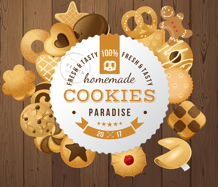 100 fresh and tasty homemade cookies paradise paper round label. Vector illustration Illustration
