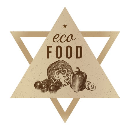 Hand drawn eco food background with craft paper emblem. Vector illustration