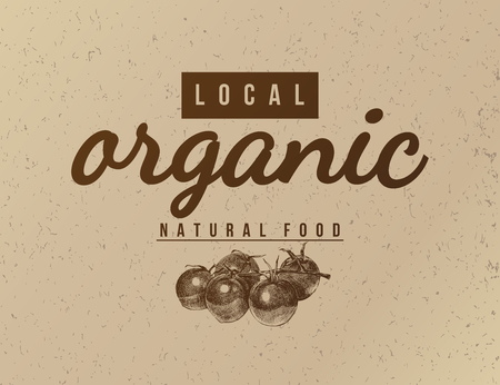 Local organic natural food background. Vector illustration in vintage style with hand drawn tomatoes