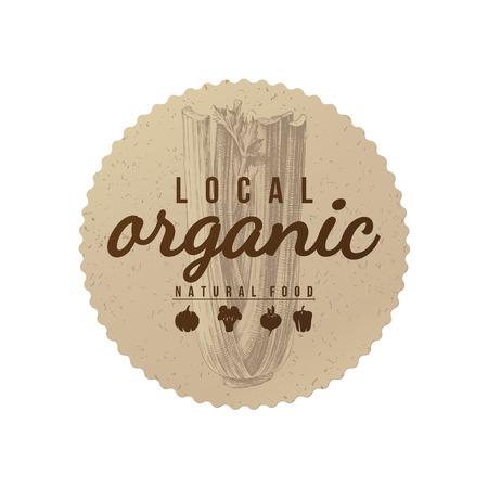 地元の有機自然食品のラウンド手描きセロリと紙のエンブレム。ベクトル図  イラスト・ベクター素材