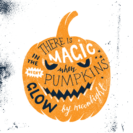 Hand drawn Halloween letering in pumpkin silhouette. There is magic in the night when pumpkins glow by moonlight. Easy to use in postcard designs, banners or holiday invitations Иллюстрация