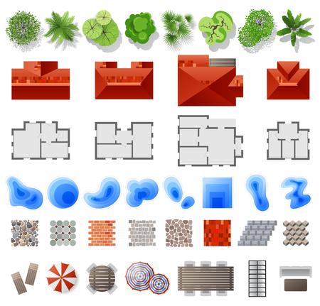 Insieme di elementi di progettazione del paesaggio. Vista dall'alto. 39 elementi di alta qualità. Illustrazione vettoriale Vettoriali