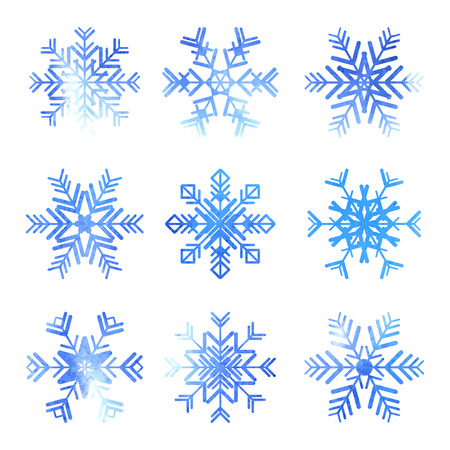 Watercolor snowflakes icons set isolated on white background