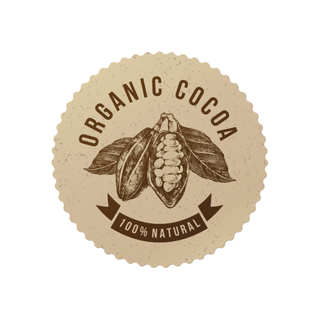 Organic cocoa round label in vintage style . Vector illustration