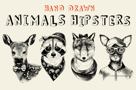 Hand drawn animals hipsters set in vintage style. Vector illustration Vector Illustration