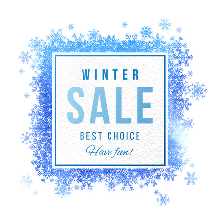 Winter sale square banner with blue watercolor snowflakes. Vector illustration Illustration