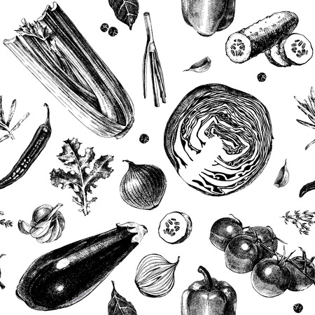 Seamless pattern with hand drawn vegetables in vintage style. Vector illustration