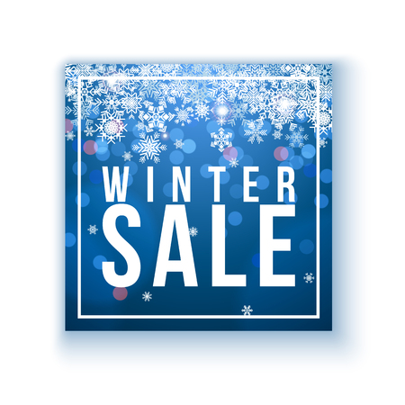 Winter sale poster template over blue background with snowflakes and bokeh lights  イラスト・ベクター素材