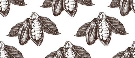 Hand drawn seamless pattern with cocoa beans. High quality vector illustration Illustration