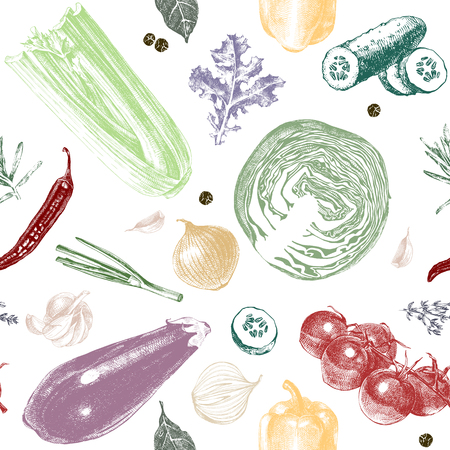 Seamless pattern with colorful hand drawn vegetables in vintage style. Vector illustration