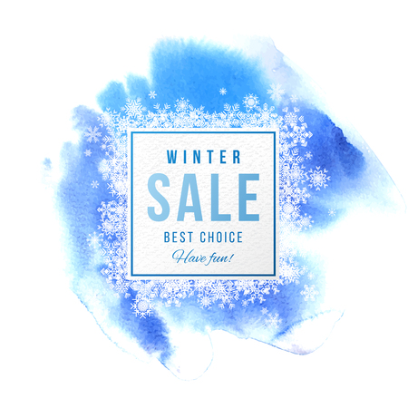 Winter sale square banner with snowflakes over blue watercolor background. Vector illustration