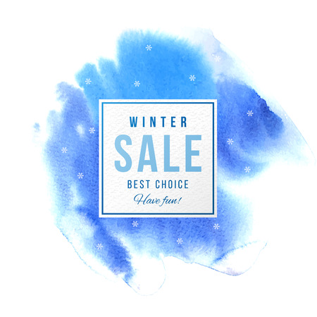Winter sale square banner over blue watercolor background with snowflakes. Vector illustration Stock Vector - 83554833
