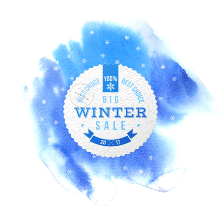 Winter sale square banner over blue watercolor background with snowflakes. Vector illustration Illustration