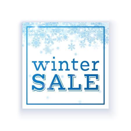 雪の結晶の繊細な冬販売ポスター テンプレート。ベクトル図