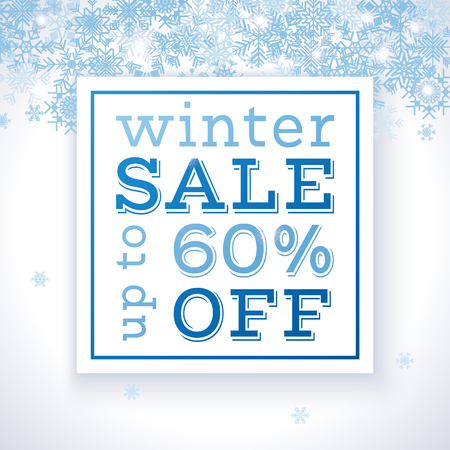Delicate winter sale poster template with snowflakes. Vector illustration