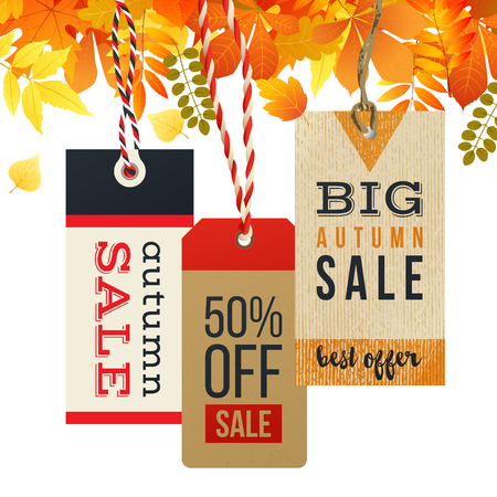 3 autumn sale tags in vintage style isolated on white background