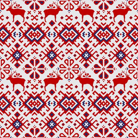 北欧風の鹿とシームレスなベクトル パターン  イラスト・ベクター素材