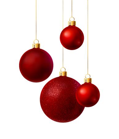 Red Christmas balls tith different surface isolated on white background. Vector illustration Vektoros illusztráció