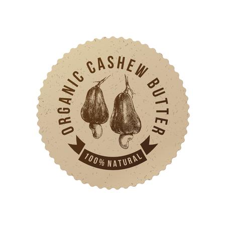 手でカシュー バター エンブレムは、エコ フレンドリーなスタイルでナットを描画されます。ベクトル図  イラスト・ベクター素材