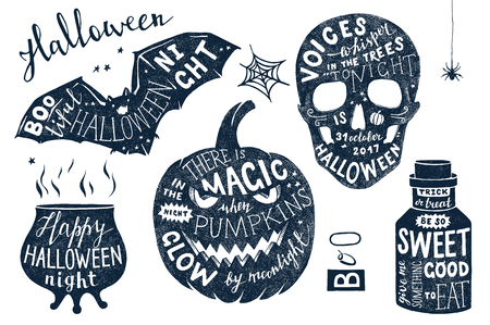 Vector set of Halloween posters with lettering. Hand drawn holiday design.