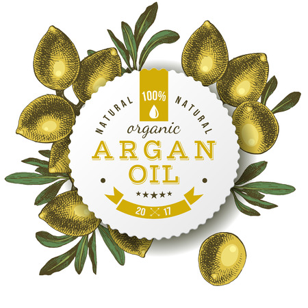 Argan oil label with hand drawn nuts Ilustração