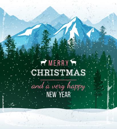 クリスマスと新年の挨拶と冬の風景  イラスト・ベクター素材