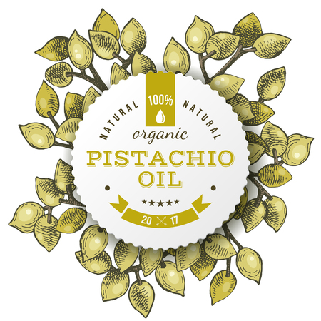 Phistachio oil label over hand drawn nuts
