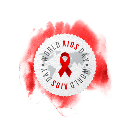 World AIDS day emblem on red watercolor background