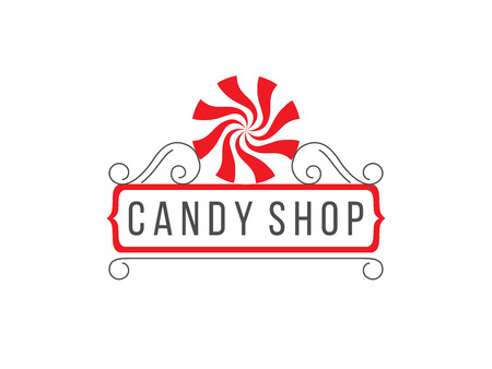 Gray, white and red candy shop logo isolated on white background