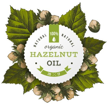 Vector hazelnut oil label Illustration