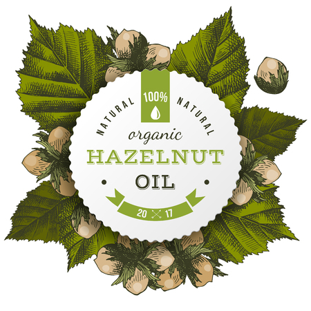 Vector hazelnut oil label Çizim