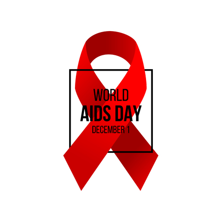 AIDS awareness day background with red support ribbon and text design. Vector illustration