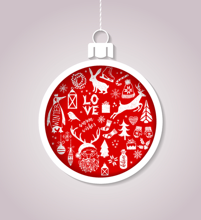 Carte de noël avec boule faite de papier et des symboles de vacances dessinés à la main Banque d'images - 87717584