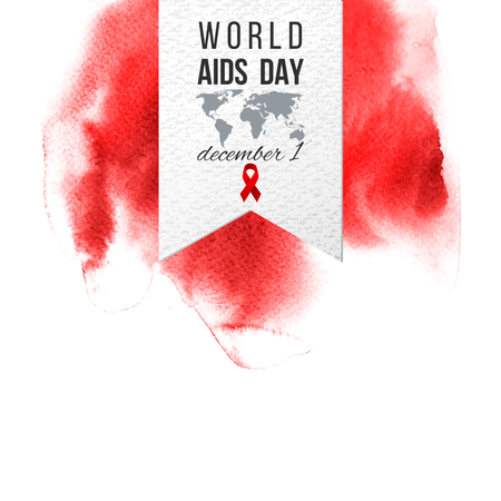 World AIDS day december 1 paper emblem on red watercolor background. Vector illustration