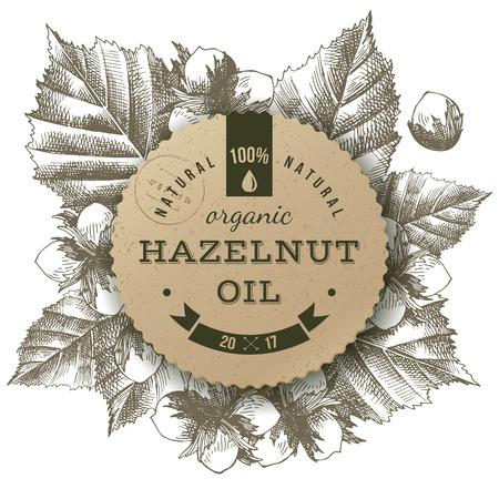 Vector hazelnut oil label Ilustração
