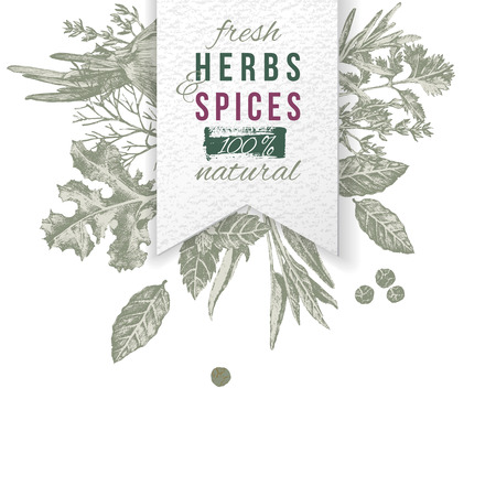 Herbs and spices composition with paper emblem