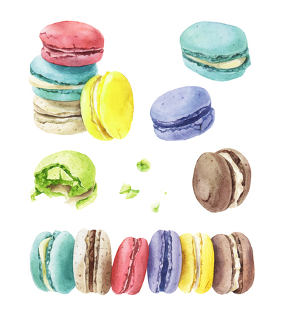 Different types of macaroons on plain background.