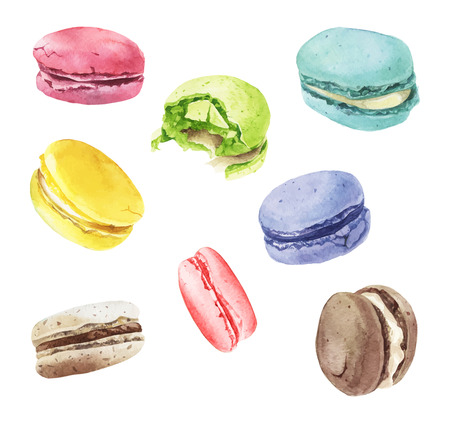 Watercolor macaroons mix