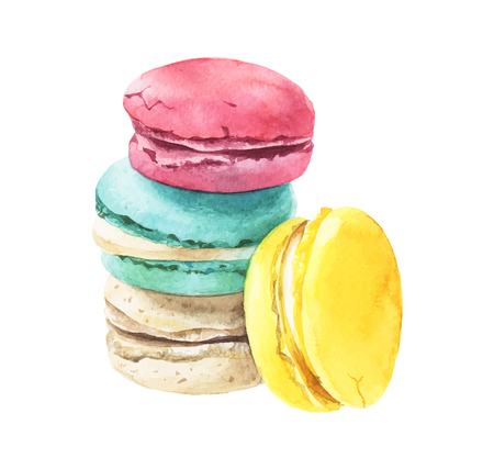 Watercolor macaroons stack