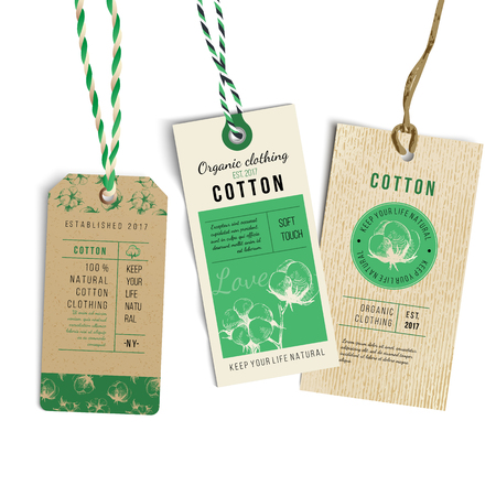 Vintage Style Tags with hand drawn cotton plant. Vector illustration