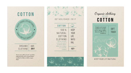 3 banners for clothing trademark in vintage style with hand drawn cotton plant. Vector illustration Vettoriali