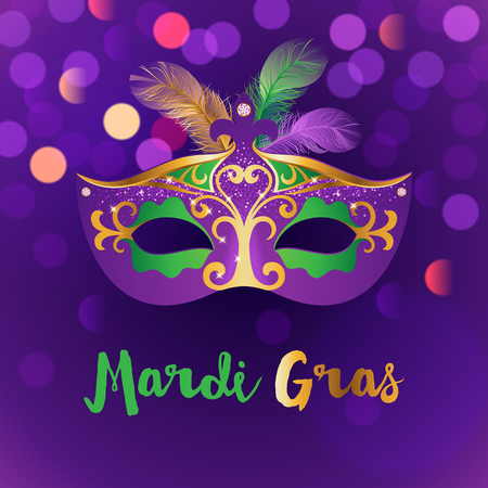Bright carnival background with mask. Concept design for poster, greeting card, party invitation, banner or flyer Illustration. Stock Illustratie