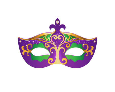Bright Mardi Gras mask isolated on white background. Fat friday symbol