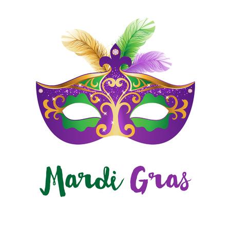 Mardi Gras card with carnival mask Illustration