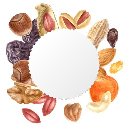 Rond embleem met noten en gedroogde vruchten