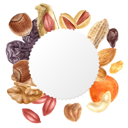 Round emblem with nuts and dried fruits