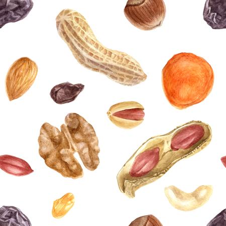 Naadloos patroon van noten en gedroogde vruchten. Vector illustratie