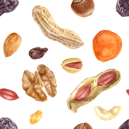 Seamless pattern of nuts and dried fruits. Vector illustration. Ilustração