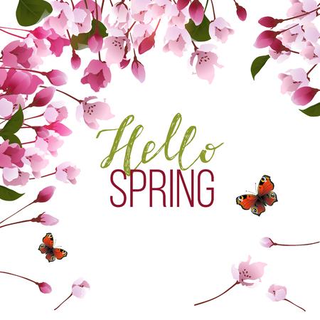 hello spring background illustration. Illustration